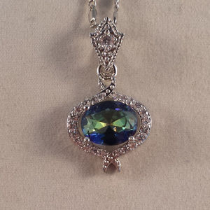 Jewelry - 18K WGF Blue Mystic Topaz Zircon Pendant Necklace